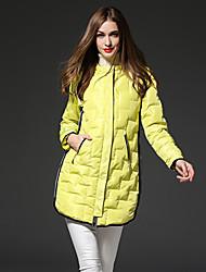 frmz твердое вещество желтого цвета вниз coatsimple с капюшоном с длинным рукавом женщин