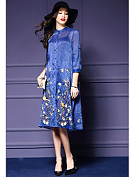 Women's Going out Sexy Sheath DressSolid Round Neck Knee-length Long Sleeve Blue / Red / Purple Silk Spring