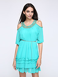 Women's Cut Out/Ruffle Casual/Daily Street chic Plus Size/Loose Dress,Solid Round Neck Above Knee ½ Length Sleeve Blue/Pink/Red/Yellow Polyester