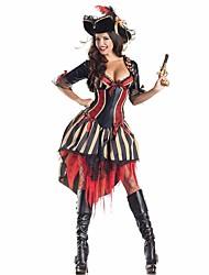 Costumes de Cosplay Pirate Cosplay de Film Violet Couleur Pleine Robe / Chapeau Halloween / Noël / Nouvel an Féminin Polyester