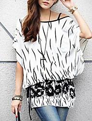 Women's Casual/Daily Simple Spring / Summer Blouse,Print Slash Neck ½ Length Sleeve White Medium