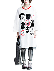 Damen Druck Niedlich / Street Schick Lässig/Alltäglich T-shirt,Rundhalsausschnitt Frühling / Herbst Langarm Weiß Baumwolle Mittel