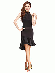 Latin Dance Dresses Women's Performance Chinlon Backless Dance Costumes Black