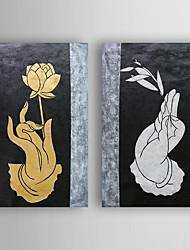 Pintados à mão Vida Imóvel Pinturas a óleo,Modern 2 Painéis Tela Hang-painted pintura a óleo For Decoração para casa