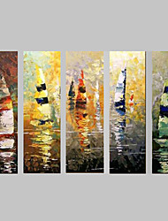 Hand-Painted Canvas Oil Painting 5 Piece/set wall art Landscape Sailing Boat with Stretched Frame Ready to Hang