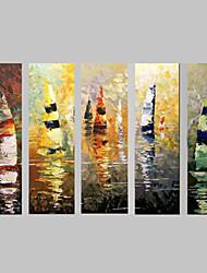 Pintados à mão Abstracto / Paisagem / Vida ImóvelModern 5 Painéis Tela Hang-painted pintura a óleo For Decoração para casa