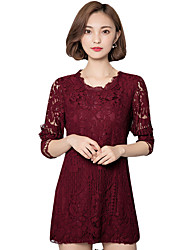 Fall Spring Go out Casual Plus Size Women's Solid Color Round Neck Long Sleeve Lace Dress Red/White/Black