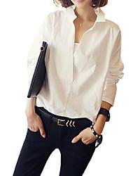 Women's Patchwork White Shirt,Shirt Collar Long Sleeve