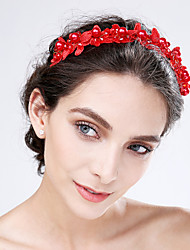 Women's Lace / Acrylic Headpiece-Wedding / Special Occasion Flowers 1 Piece Red / Beige