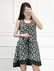 Boutique S Going out Cute Sheath DressFloral Round Neck Above Knee Sleeveless Green Silk Summer Mid
