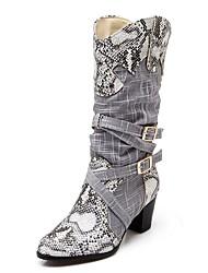 Feminino-Saltos-Botas de Neve Botas Montaria Botas da Moda Inovador Botas de Cowboy-Salto Grosso-Cinza Bege-Sintético Couro Envernizado