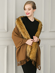 Women's Casual/Daily Cloak/Capes,Solid Notch Lapel Sleeveless Winter White / Black / Brown / Gray Faux Fur / Medium