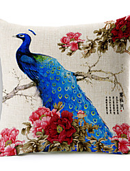 1PC Household Articles Back Cushion Novelty Originality Fashionable Floral Peafowl Prints Pillow Case
