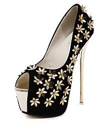Women's Heels Metal Flowers Supper High 6.5 Inch Heels Peep Toe Platform Fleece Stiletto Pump/Heels
