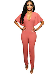 Women's Cut Out Solid Pink / Red / Green JumpsuitsSexy V Neck Short Sleeve