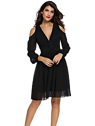 Women's Trim Detail Long Sleeve Skater Dress