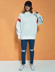 Damen Standard Hoodies-Lässig/Alltäglich Einfach Einfarbig Blau / Grau Rundhalsausschnitt Langarm Baumwolle Frühling / Herbst Mittel