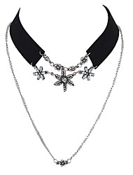 Gothic Black Wide Velvet Rhinestone Flower Collar Choker Necklace with Chain