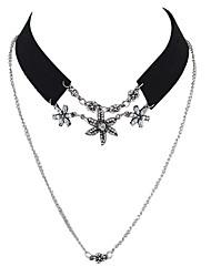 Gothic Black Wide Velvet Rhinestone Flower Collar Choker Necklace with Chain