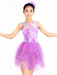 Ballet Dresses Women's / Children's Performance Spandex / Flower(s) / Pleated 2 Pieces Lilac Ballet