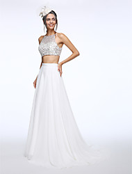 LAN TING BRIDE A-line Wedding Dress Two-in-One Sweep / Brush Train Bateau Chiffon with Beading Sequin