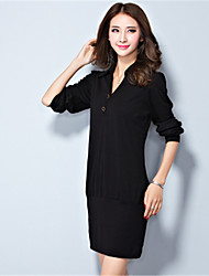 Women's Plus Size / Casual/Daily Simple Sheath DressSolid V Neck Above Knee Long Sleeve