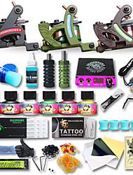 Professional Tattoo Kit 3 Cast Iron Machine Liner & Shader LCD Power Supply 50 Tattoo Needles Tattoo Inks Supplies