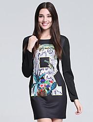 Gaine Robe Femme Soirée simple,Imprimé Col Arrondi Mini Manches Longues Noir Coton Automne Taille Haute Micro-élastique Fin