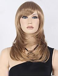 medio largo de color marrón venta recta de oro peluca sintética caliente.