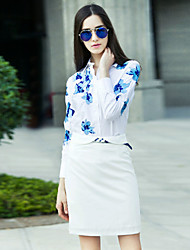 Boutique S Women's Work Chinoiserie Spring Set SkirtEmbroidered Shirt Collar Long Sleeve White Cotton / Polyester