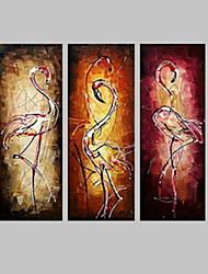 Ручная роспись ЖивотноеModern 3 панели Холст Hang-роспись маслом For Украшение дома