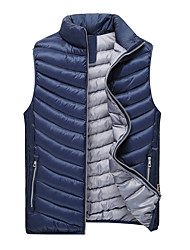 Men's Regular Padded Vest Coat,Polyester Solid Sleeveless Winter Vest k256
