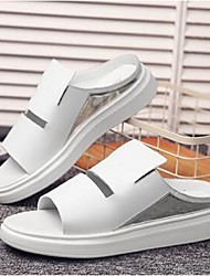 Unisex Slippers & Flip-Flops Summer Slippers Leather Casual Platform Others Black / White Others