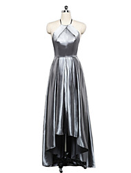 A-Line Halter Asymmetrical Stretch Satin Formal Evening Dress with Draping