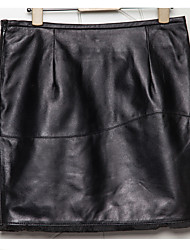 Women's Sheep Skin SkirtSolid Black Skirts Sexy / Simple