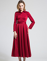 BORME Women's Shirt Collar Long Sleeve Maxi Dress-Y042