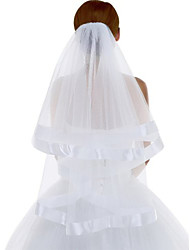 Wedding Veil Two-tier Fingertip Veils Ribbon Edge Tulle White / Ivory