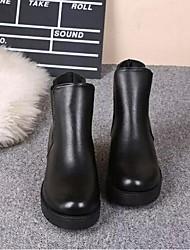 Черный-Женский-Для прогулок-Полиуретан-На толстом каблуке-Военные ботинки-Ботинки