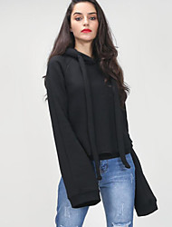 Women's Casual/Daily Street chic Regular HoodiesSolid Black Hooded Long Sleeve Cotton Fall / Winter