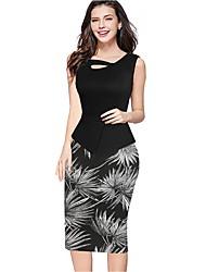 Women's Sexy Plus / Big Size Floral Print Stitching Color Block Sleeveless Bodycon Pencil Dress(Flora Print At Random)