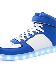 Men's Boots LED charging Comfort Leather Casual Flat Heel Lace-up Black Blue White Plus size