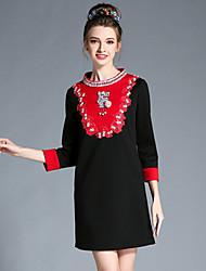mulheres outono aufoli Plus Size cor retro talão retalhos bloco 3/4 vestidos de manga