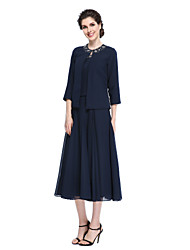 Lanting Bride®A-line Mother of the Bride Dress - Elegant Tea-length 3/4 Length Sleeve Chiffon with Beading