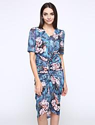 Women's Going out Street chic Sheath Dress,Print V Neck Knee-length Short Sleeve Multi-color Polyester Summer