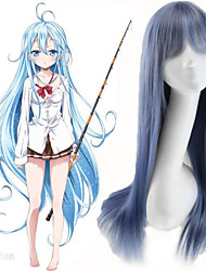 Peruca Cosplay Lolita Anime 70cm Long Straight Hightlight Light Blue Mixed Grey Color Synthetic Fiber Wigs for Female