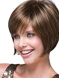 mulheres bobo curto perucas sintéticas retas marrom escuro com rede de cabelo gratuito