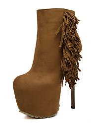 Women's Boots High Heel 6.5 Inch Tassel Fleece Boots Round Toe Bootie Side Zipper Stiletto Platform Boots