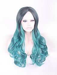 Cheap Beautiful Soft Korean Sexy Long Black Green Wig Heat Resistant Women Hair Wigs Cosplay Ombre
