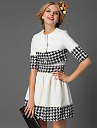 DREAMY LAND  Women's Going out Simple Spring Set SkirtGeometric Round Neck Length Sleeve White
