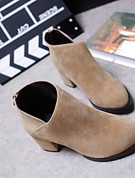 Damen-Stiefel-Lässig-PU-Blockabsatz-Modische Stiefel-Schwarz / Gelb